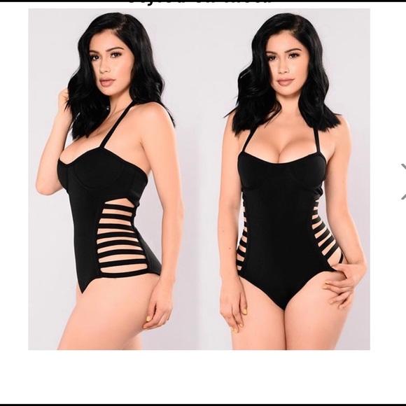 f10d235c7be fashion nova Other - Fashion nova black cut out sides halter swimsuit S